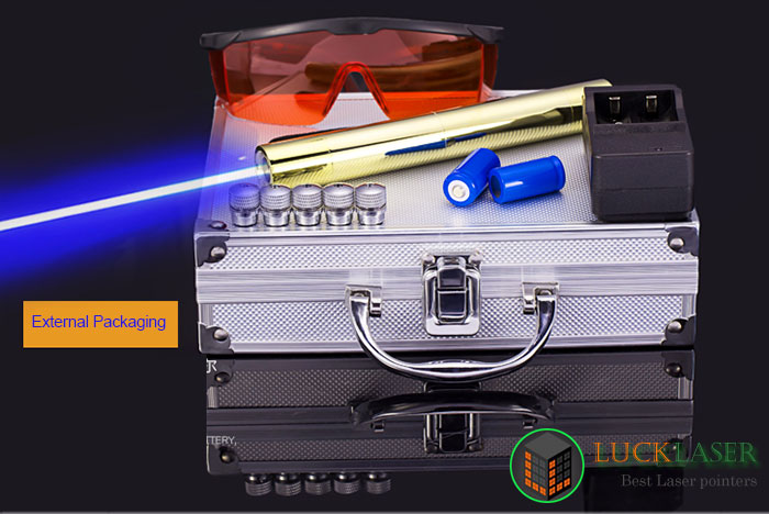 Cool golden style 2000mw blue laser pointer with Dazzling appearance 65% OFF & Free shipping